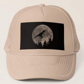 Biker t rex In Sky With Moon 80s Parody Trucker Hat