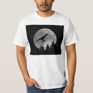 Biker t rex In Sky With Moon 80s Parody Tshirt