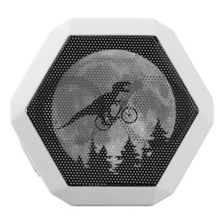 Biker t rex In Sky With Moon 80s Parody White Bluetooth Speaker