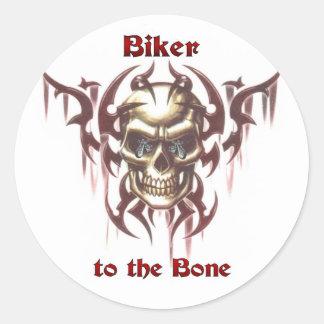 Biker to the Bone Classic Round Sticker