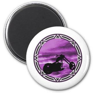 Biker Tribal Purple Chop 2 Inch Round Magnet