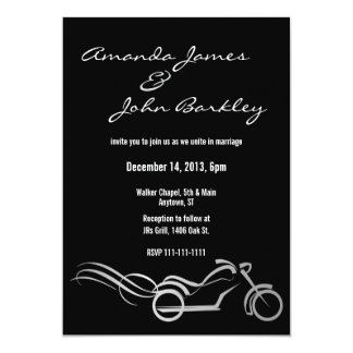 "Biker Wedding Black with Swirls 5"" X 7"" Invitation Card"