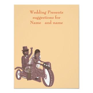 Biker Wedding, Groom riding pillion, Gift List Card
