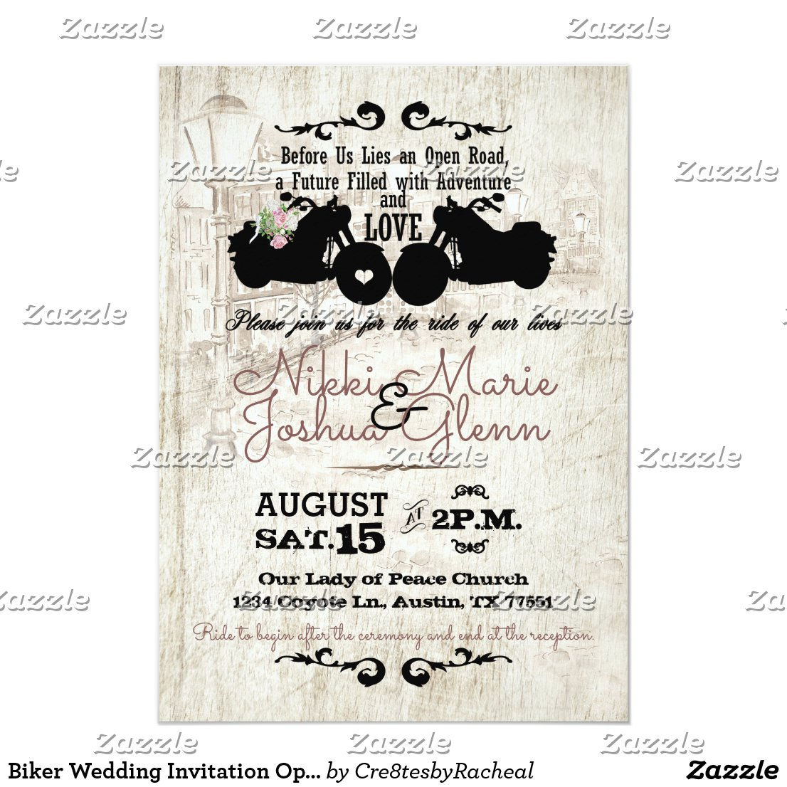 Biker Wedding Invitation Open Road Adventure