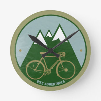 bikers adventure, mountains round wall clocks