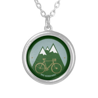 bikers adventure, mountains silver plated necklace