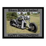 Bikers BOO it better Happy Halloween postcard