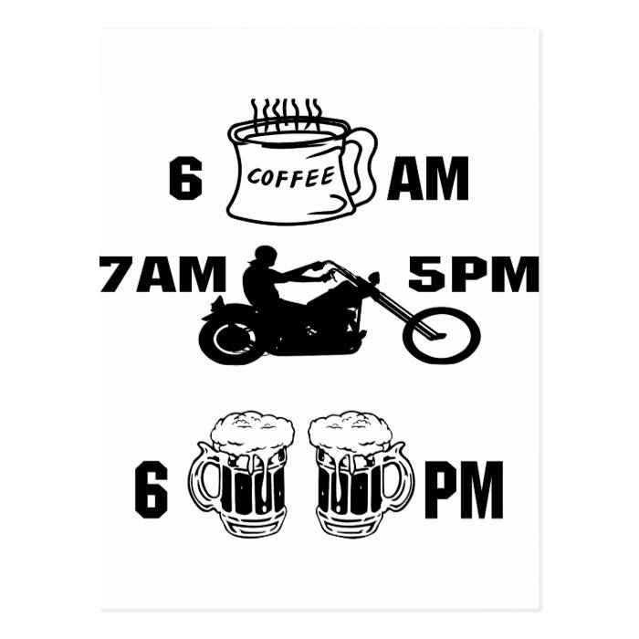 Bikers Day; Coffee, Riding and Beer Postcard