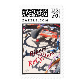 Bikers r Recyclers 4  postage stamp