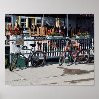 Bikes at cafe print