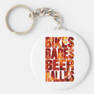 Bikes Babes Beer Rallies Basic Round Button Keychain