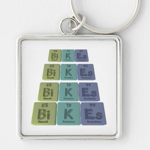 Bikes-Bi-K-Es-Bismuth-Potassium-Einsteinium.png Llavero Cuadrado Plateado