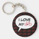 bikes cartoon speech bubble key chain