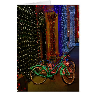 bikes in lights greeting card