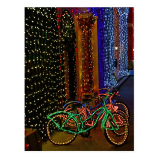 bikes in lights postcard