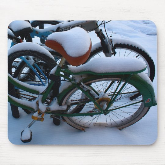 Bikes in the Snow Mouse Pad