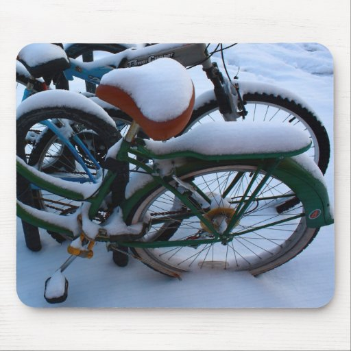 Bikes in the Snow Mousepad