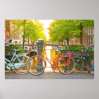Bikes on a bridge in Amsterdam the Netherlands Print