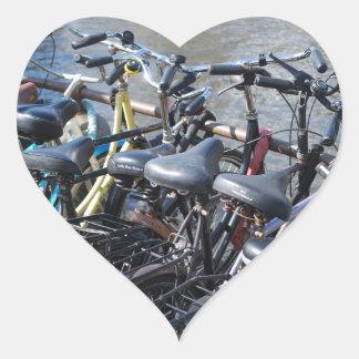 Bikes Parked in Amsterdam Heart Sticker
