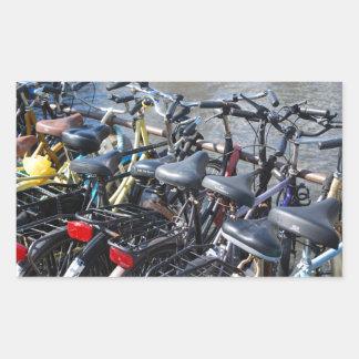 Bikes Parked in Amsterdam Rectangular Sticker