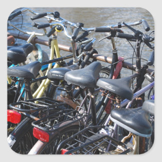 Bikes Parked in Amsterdam Square Sticker