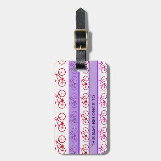 biking - bike stripes pattern bag tag