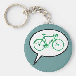 biking cartoon speech bubble keychain