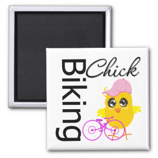 Biking Chick 2 Inch Square Magnet