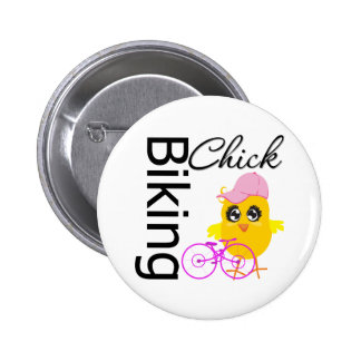 Biking Chick Button