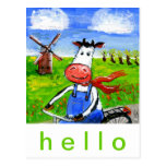 Biking Cow Postcard