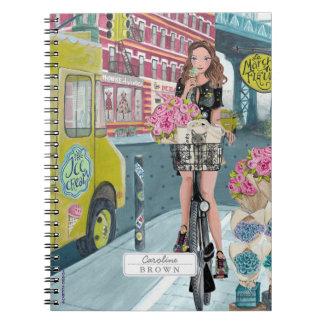 Biking Girl Brooklyn New York   Photo Notebook