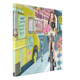 Biking Girl in Brooklyn New York | Canvas