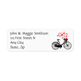 Biking Heart Love Vintage Art Custom Address Label