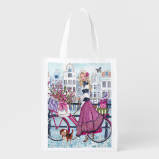 Biking in Amsterdam reusable grocery bag Market Totes