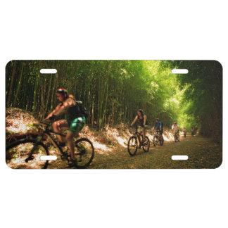 Biking in bamboo trail license plate
