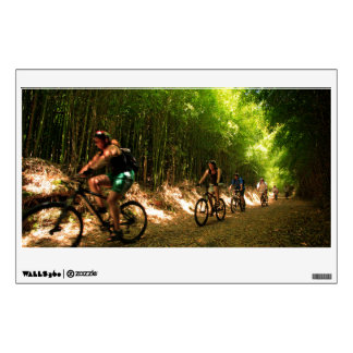 Biking in bamboo trail wall sticker