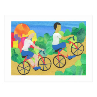 Biking in Central Park Postcard