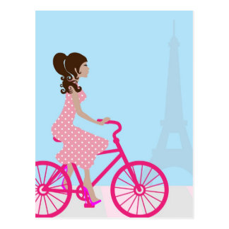 Biking in Paris Postcard