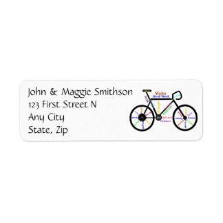 Biking Inspirational words Art Custom Address Label