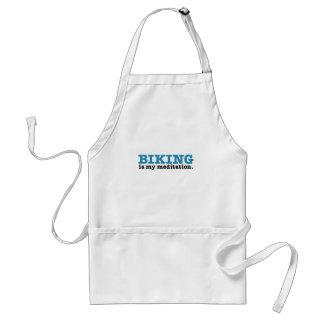 Biking Is Meditation (the blue route) Adult Apron