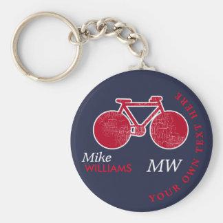 biking, red bike on blue key-chain with name keychain