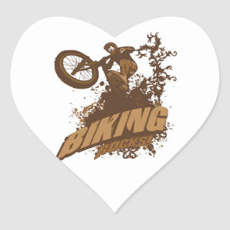 Biking Rocks! Heart Sticker