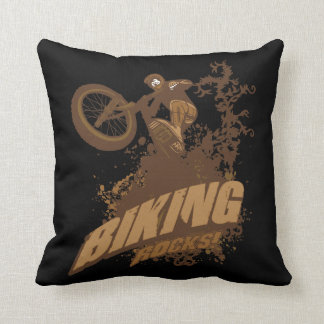 Biking Rocks! Throw Pillows