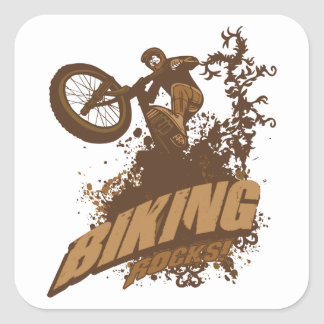Biking Rocks! Square Sticker