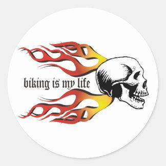 Biking Round Stickers