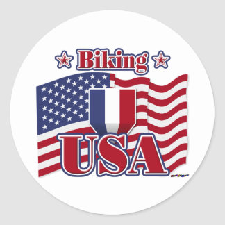 Biking USA Classic Round Sticker