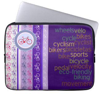 biking words and stripes laptop computer sleeve