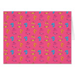 Bikini and sandals pink pattern greeting cards