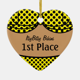 Bikini Black Polka Dot Ceramic Ornament