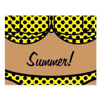 Bikini Black Polka Dot Postcard